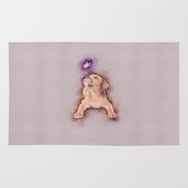 Staffordshire terrier Puppy with Butterfly Rug