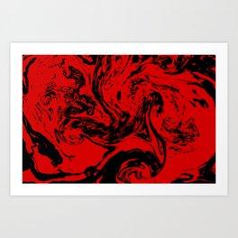 Red & Black liquid ink Art Print