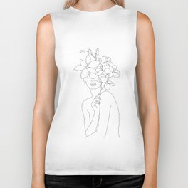 Minimal Line Art Woman with Orchids Biker Tank