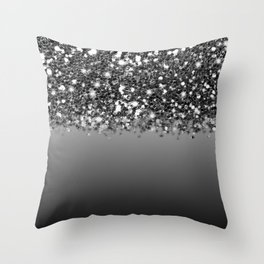 Black & Gunmetal Gray Silver Glitter Ombre Throw Pillow