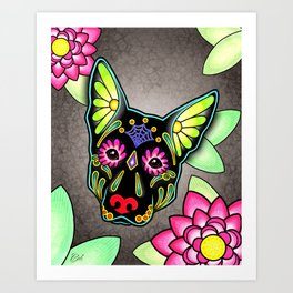 German Shepherd in Black - Day of the Dead Sugar Skull Dog Art Print