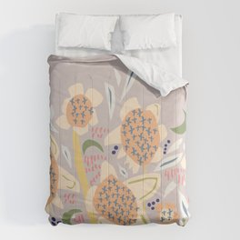Abstract Floral Landscape Soft Cream & Grey Comforters