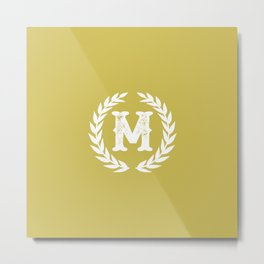 Mustard Yellow Monogram: Letter M Metal Print