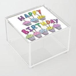 Happy Birthday Cupcakes Acrylic Box