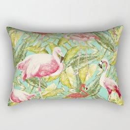 Aloha- Tropical Flamingo Bird and Palm Leaves Garden Rectangular Pillow