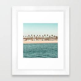 Vintage Newport Beach Print {1 of 4}   Photography Ocean Palm Trees Teal Tropical Summer Sky Framed Art Print