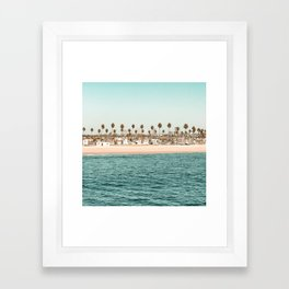 Vintage Newport Beach Print {1 of 4} | Photography Ocean Palm Trees Teal Tropical Summer Sky Framed Art Print