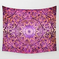 Mandala Pink Night Wall Tapestry