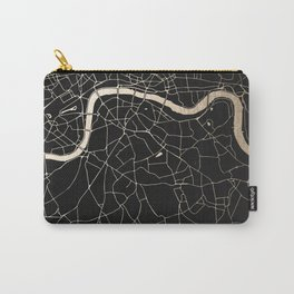London Black on Gold Street Map II Carry-All Pouch