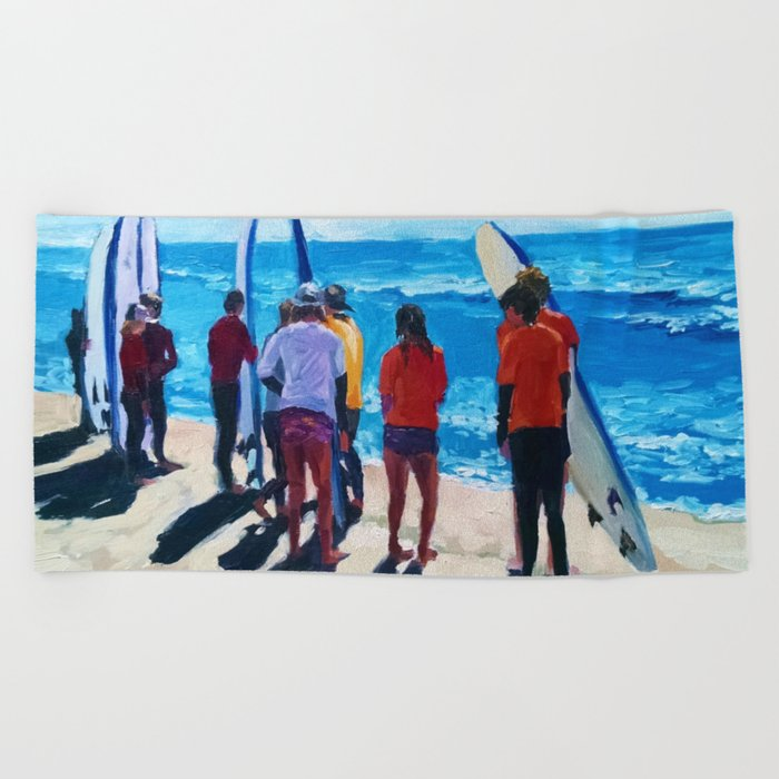 Surf Line Up Beach Towel by kare4art