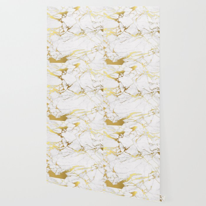 White Gold Marble Wallpaper