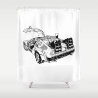 delorean Shower Curtains featuring delorean by marzini
