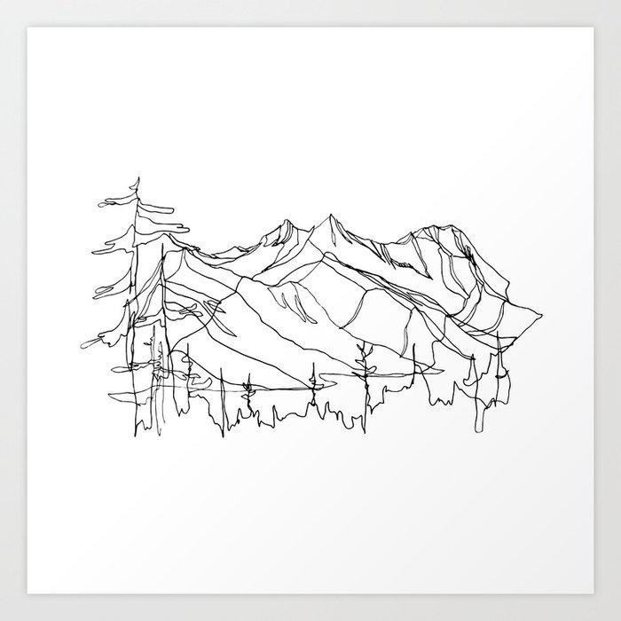 Squamish Summits Single Line Art Print By Jessagilbert