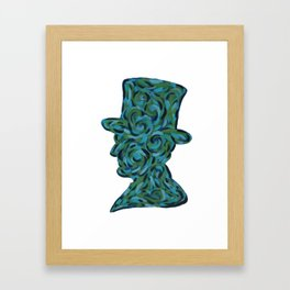 President Abraham Lincoln Blue and Green Swirling Abstract Silhouette Painting Framed Art Print