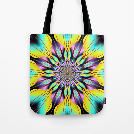 Fantasy sunflower with wavy rays and patterns Tote Bag