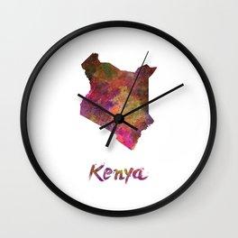 Kenya in watercolor Wall Clock