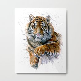 Watercolor Tiger Metal Print