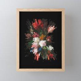 Abstract dark pixel flowers Framed Mini Art Print