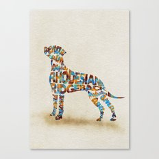 Rhodesian Ridgeback Dog Typography Art / Watercolor Painting Canvas Print