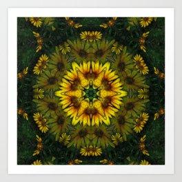 Large Yellow Wildflower Kaleidoscope Art 6 Art Print