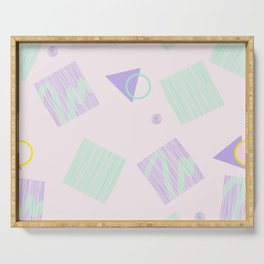 Geometric objects in pastels Serving Tray