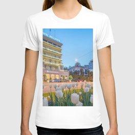 Lugano, Switzerland - Hotel Bellevue at Twilight lakeside photograph T-shirt