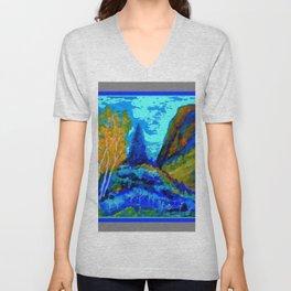 Western Golden Aspens Blue Mountain Landscape Art Unisex V-Neck