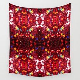 Red abstract mosaic shiny glitter pattern Mandala Wall Tapestry