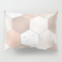 Rose pearl and marble hexagons Pillow Sham