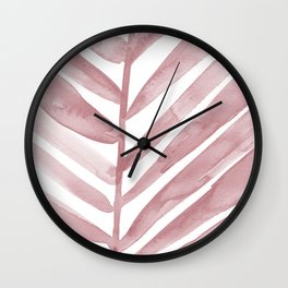 Pink Palm Leaf Crop Wall Clock