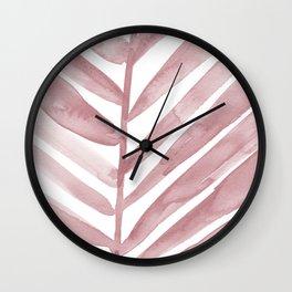 Pink Palm Leaf Crop Wall Clock