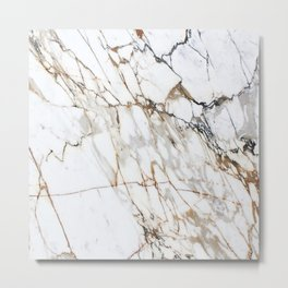 Marble White & Gold Metal Print