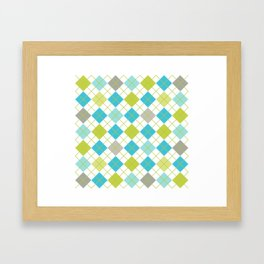 Retro 1980s Argyle Geometric Pattern in Modern Bright Colors Blue Green and Gray Framed Art Print