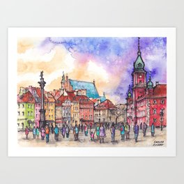 Warsaw ink and watercolor illustration Art Print
