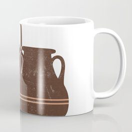 Minimal Abstract Greek Pots 21 - Amphorae - Terracotta Series - Modern, Contemporary Print - Brown Coffee Mug