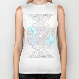 abstract gray and turquoise mandala design in minimal style Biker Tank