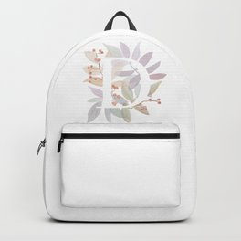 Floral Initial D - Rustic Watercolor Letter - Typography - Wreath Design Backpack