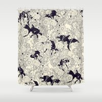 floral Shower Curtains featuring Hide and Seek by nicebleed