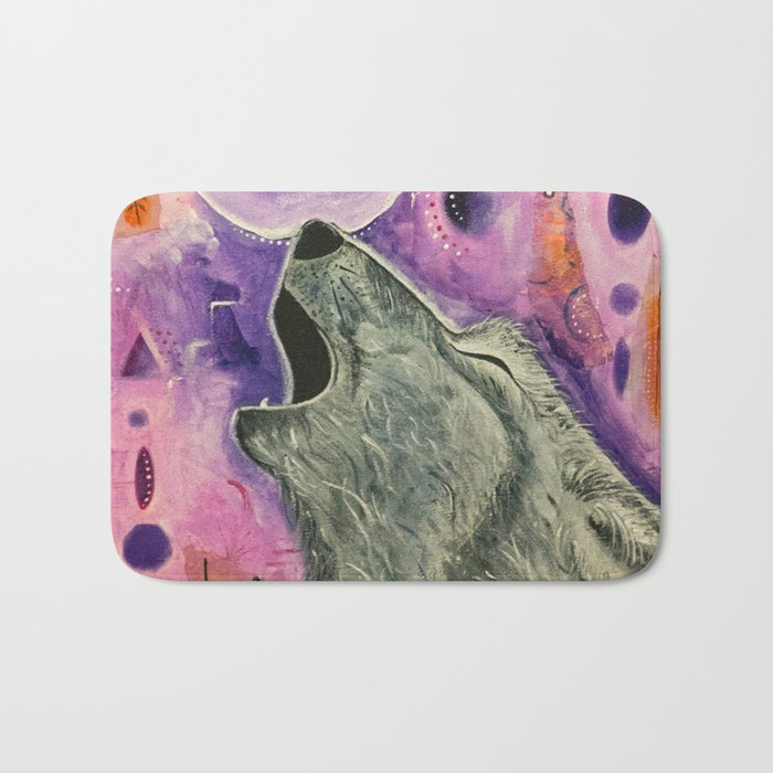 Spirit Wolf - Gold Lotus Oracle Bath Mat