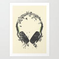 deadmau5 Art Prints featuring Art Headphones V2 by Sitchko Igor