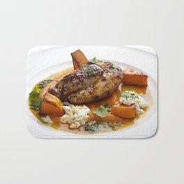 Baby chicken with pumpkin,cottage cheese and coriander pesto Bath Mat