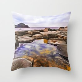 The Giant's Causeway,Ireland.(Painting) Throw Pillow