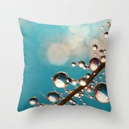 Heavenly Blue Smoke Drops Throw Pillow