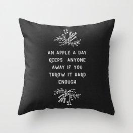 An Apple A Day BW Throw Pillow