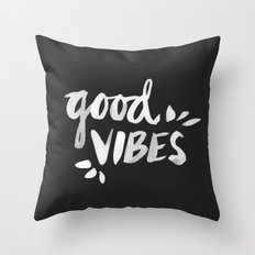 good vibes white ink - Black And White Decorative Pillows