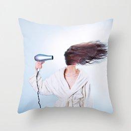 hair comic wind 4 Throw Pillow