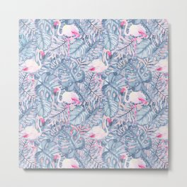Aloha Flamingo Pattern Metal Print