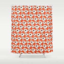 Daisies In The Summer Breeze - Orange White Black Shower Curtain