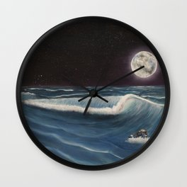 Wave Before The Moon Wall Clock