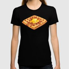 Waffle Pattern SMALL Black Womens Fitted Tee